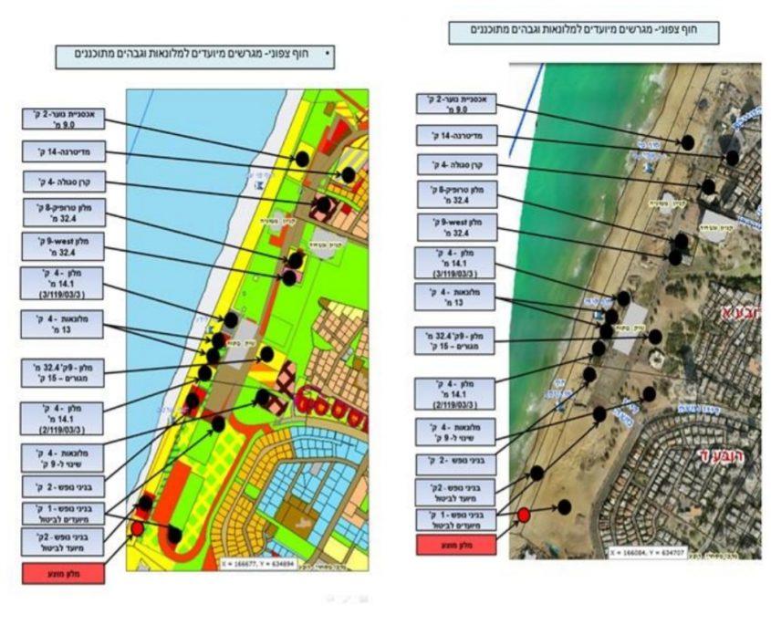 קטע החוף הצפוני של אשדוד: פיתוח ובניית בתי מלון. מתוך התכנית שהוגשה לוועדה המקומית