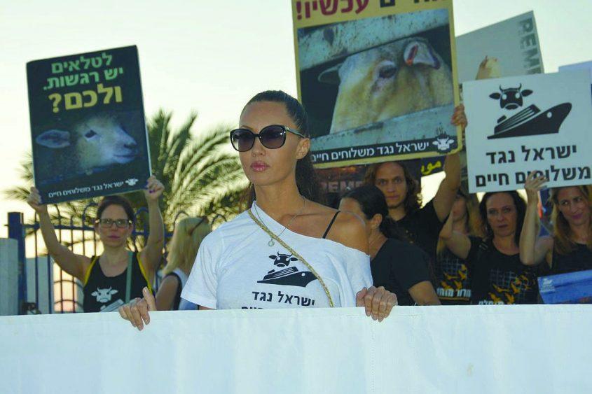 ריטה לוקין בצעדה באשדוד נגד המשלוחים החיים. צילום: ישראל נגד משלוחים חיים