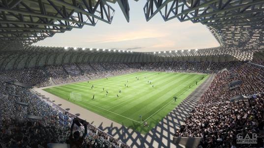 """הדמייה: כך ייראה אצטדיון הכדורגל החדש שיחליף את אצטדיון ה-י""""א (הדמיה: אצטדיון הכדורגל החדש שייבנה באשדוד, מבט מלמעלה (GAB Architects, עיריית אשדוד ורשות הספורט העירונית)"""