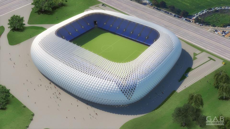 הדמיה: אצטדיון הכדורגל החדש שייבנה באשדוד, מבט מלמעלה (GAB Architects, עיריית אשדוד ורשות הספורט העירונית)