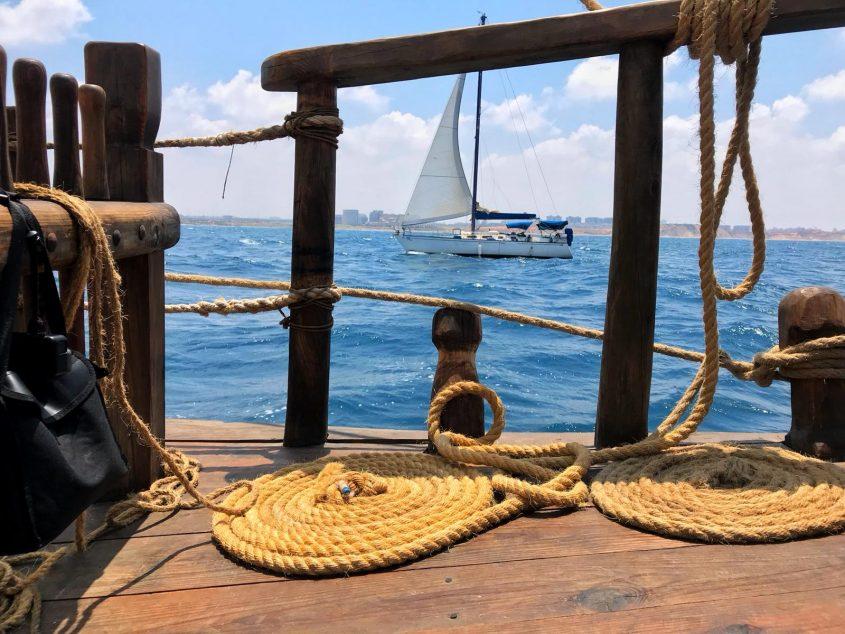"""ה""""מעגן מיכאל 2"""" בים. צילום: ויקי גולן"""