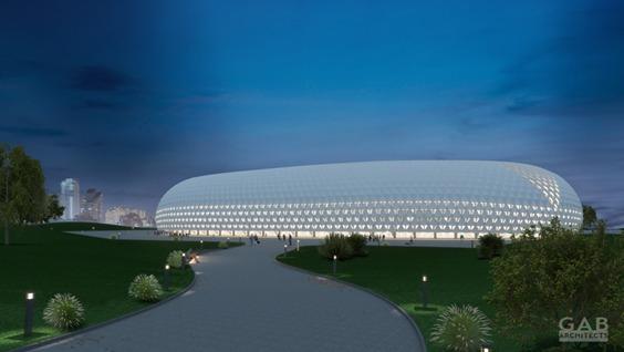 """הדמיית אצטדיון הכדורגל החדש יחליף את אצטדיון ה-י""""א: שייבנה בקריית הספורט (הדמיה: אצטדיון הכדורגל החדש שייבנה באשדוד, מבט מלמעלה (GAB Architects, עיריית אשדוד ורשות הספורט העירונית)"""