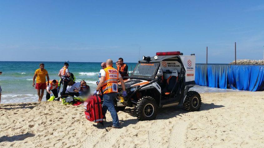 איבוד הכרה בחוף הנפרד. צילום: דוברות איחוד הצלה