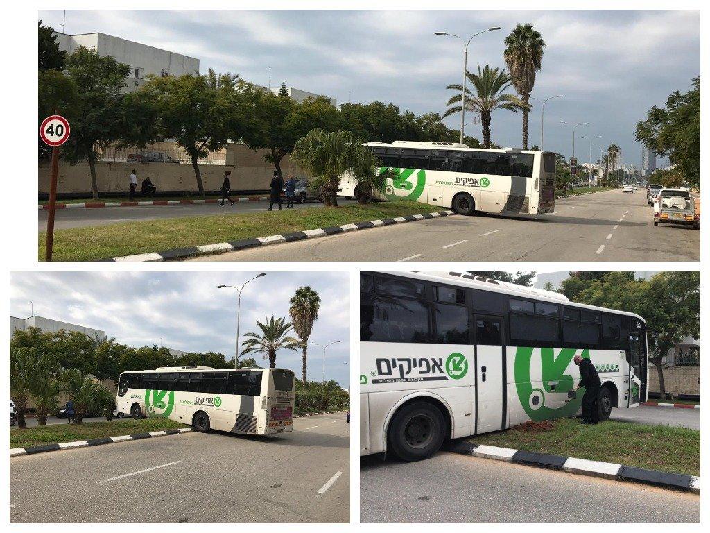 אוטובוס תקוע בשדרות ירושלים צילום: דודו חן