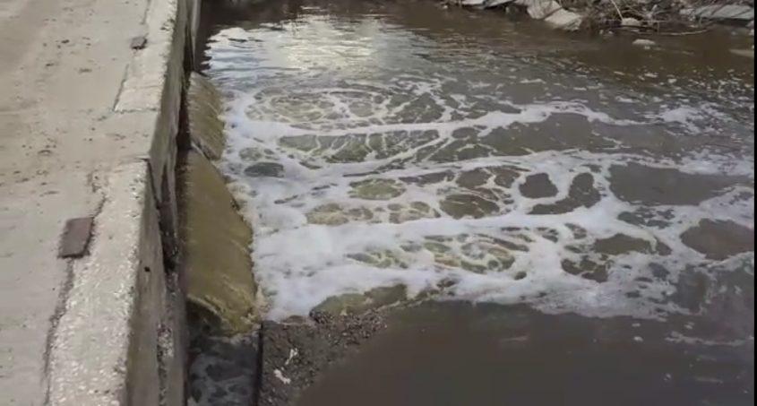 הזרימה בנחל לכיש הבוקר: אלה לא מים נקיים. צילום: תושב ניר גלים