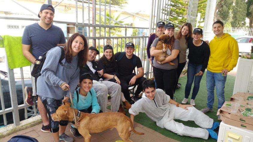 """מתנדבי """"מסע"""" בכלבייה העירונית צילום: ד""""ר מיכאל שאפירו וד""""ר דנית כהן"""