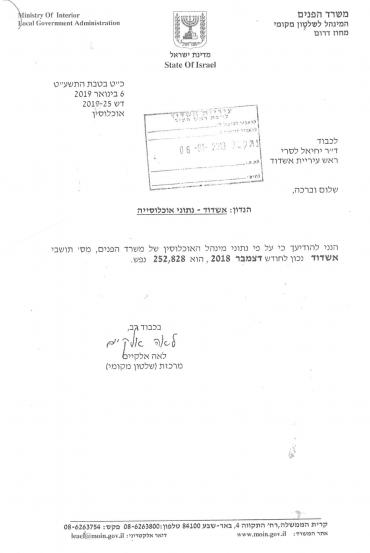 המכתב הרשמי באדיבות: דוברות עיריית אשדוד