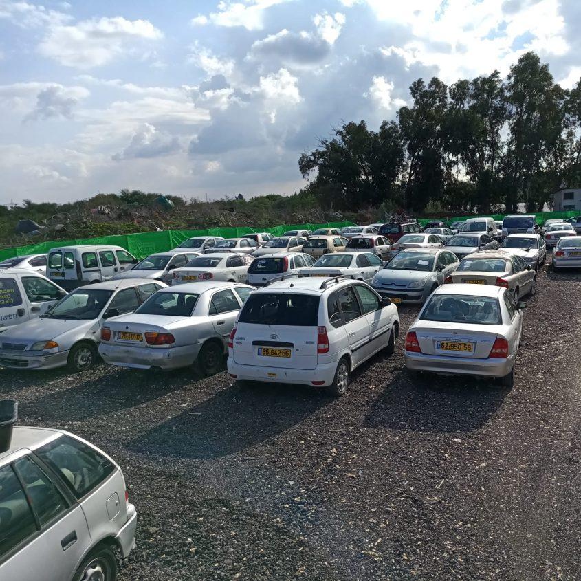 מכוניות שפונו לגריטה במגרש הגרוטאות העירוני. צילום: עיריית אשדוד