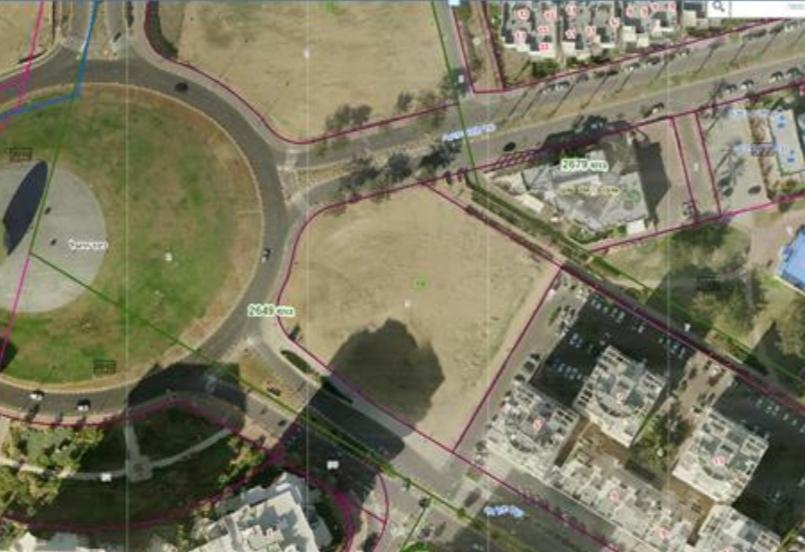 מיקומו של מגרש 18. צילום אוויר מתוך מסמכי התכנית בסדר יומה של נוועדה המקומית