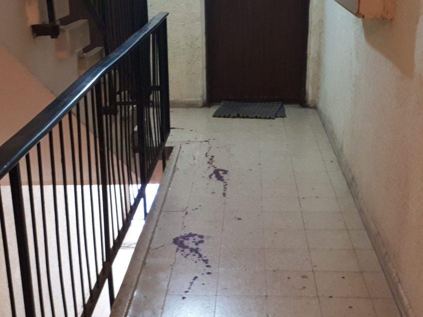 כתמי דם בחדר המדרגות. צילום: דור גפני