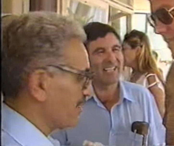 """יהודה בן הרוש ז""""ל וישראל קיסר מתוך סרטון ממערכת הבחירות של המערך 1984 - כפי שעלה ליוטיוב"""
