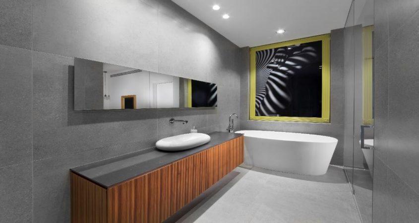 חדר מקלחת בעיצוב של רונית שיסמן. צילום: זאב ביץ