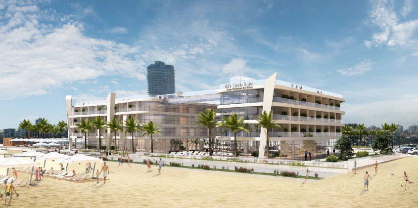 """אחד המלונות המתוכננים בחוף לידו. לפי ההצהרות הקודמות רשת הילטון אמורה להפעיל ולנהל אותו וגם מלון נוסף לידו. ההדמיות באדיבות קבוצת """"אופק השקעות"""""""