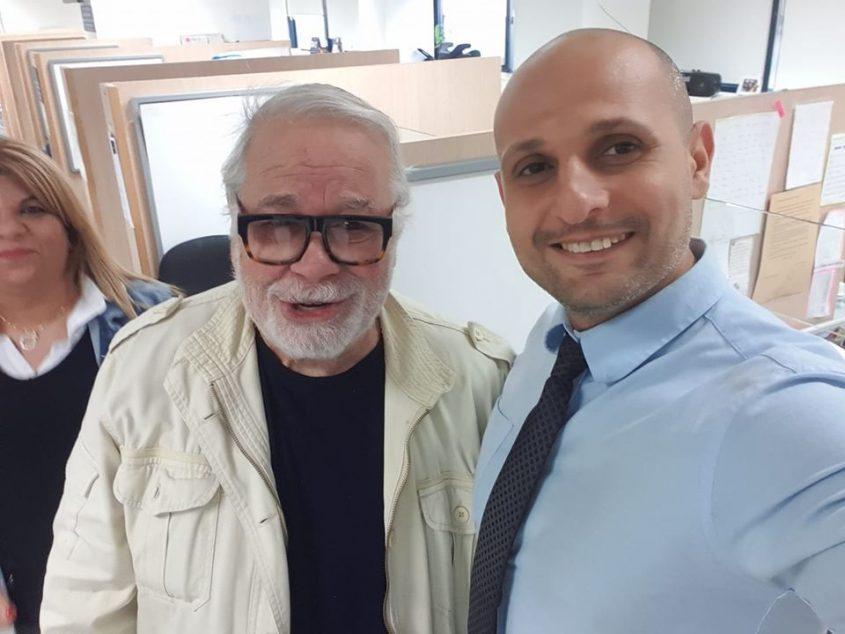 המאבטח אבי כהן ושחקן קולנוע יהודה ברקן. צילום: פרטי