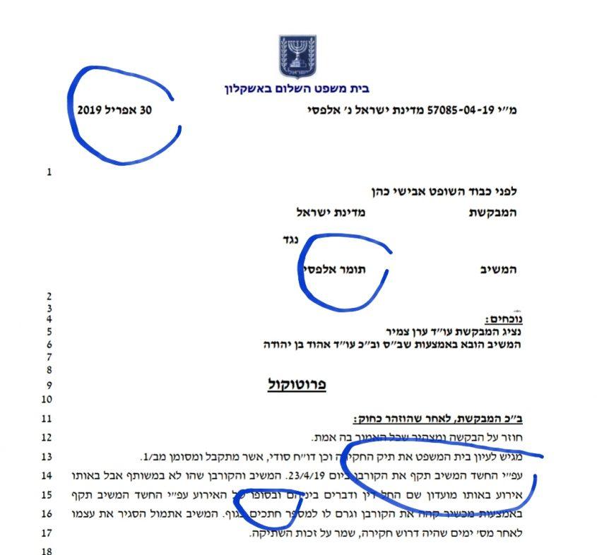 המעצר הקודם של תומר אלפסי בחשד שדקר את נדב בוחניק בפאב - מתוך פרוטוקול בית המשפט