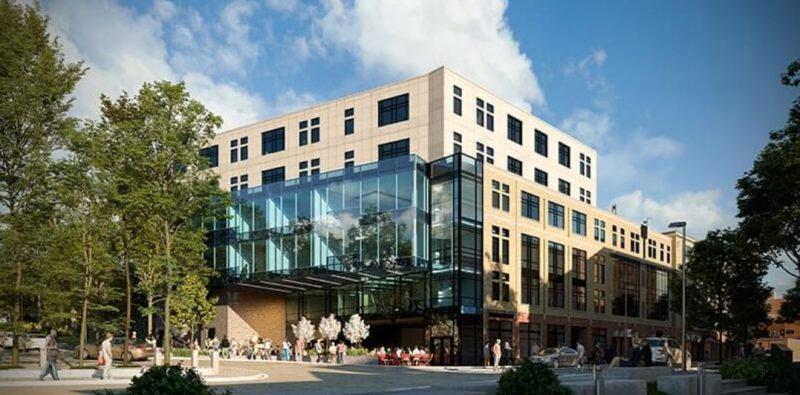 """מעונות סטודנטים בשילוב שטח מסחרי בעיר אית'קה שבמדינת ניו יורק, ארה""""ב. קרדיט הדמיה: טריפל די הדמיות"""
