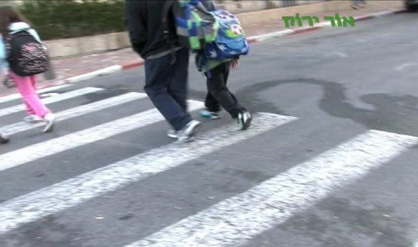 ילדים חוצים מעבר חצייה. צילום: עמותת אור ירוק