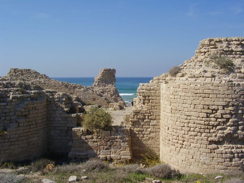 """במרכז: קטע הקיר המזרחי המאוחר-הצלבני שפורק. צילום: ד""""ר אבישי טייכר"""