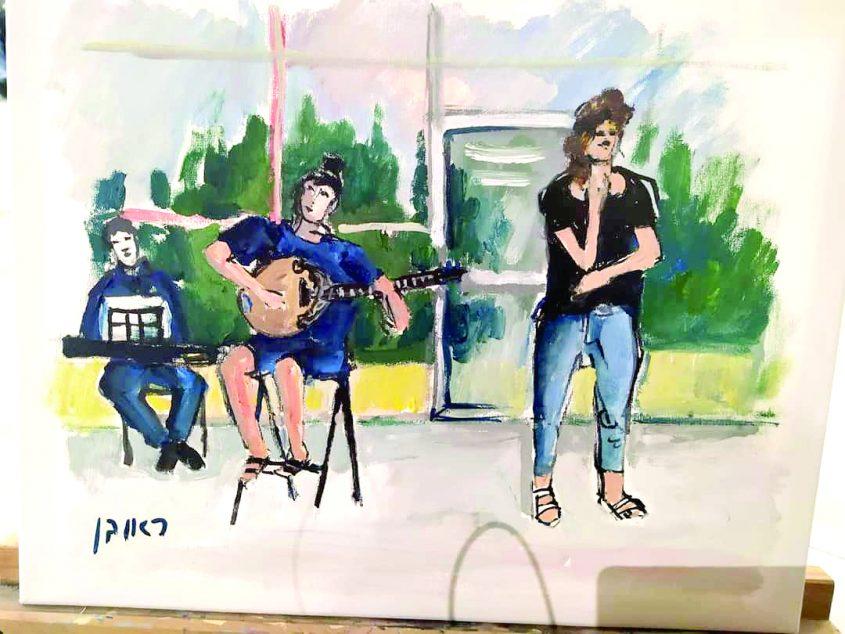 ציור של ראובן כהן שנוצר בערב תו-שווים שרים