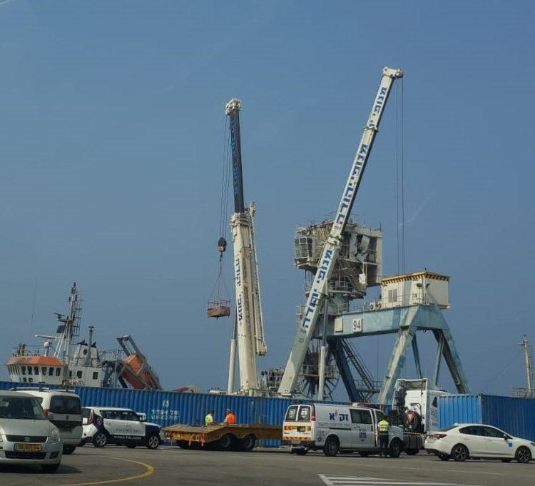 מקום האסון בנמל אשדוד. קרדיט: 'הקבוצה למאבק בתאונות בניין ותעשייה'