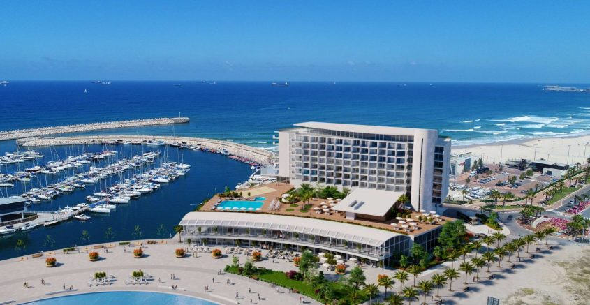 הדמיה: המלון במרינה. משרדי אדריכלים רוזן וקיקה בראז
