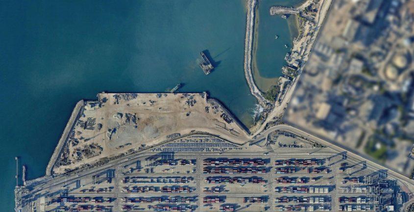 רציף העבודה החדש של נמל אשדוד. צילום: אורתופוטו (Orthophoto)