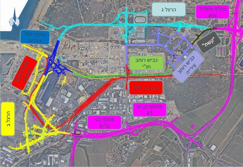 """מפת פרויקט כביש הרצל ג' וקטע כביש ה""""קשת"""" שמחכים להיסלל. קרדיט: עיריית אשדוד"""