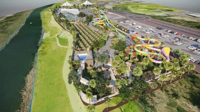 פארק אתגרים החדש עם פארק המים בתוכו. הדמיה: סטודיו אריסטו