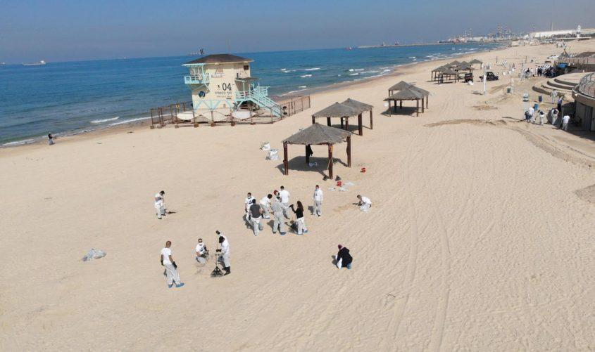 מנקים את חופי אשדוד. צילום: עיריית אשדוד