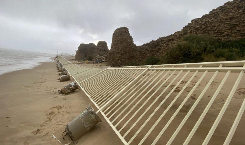 גדר המצודה שקרסה. צילום: ישראל דיין