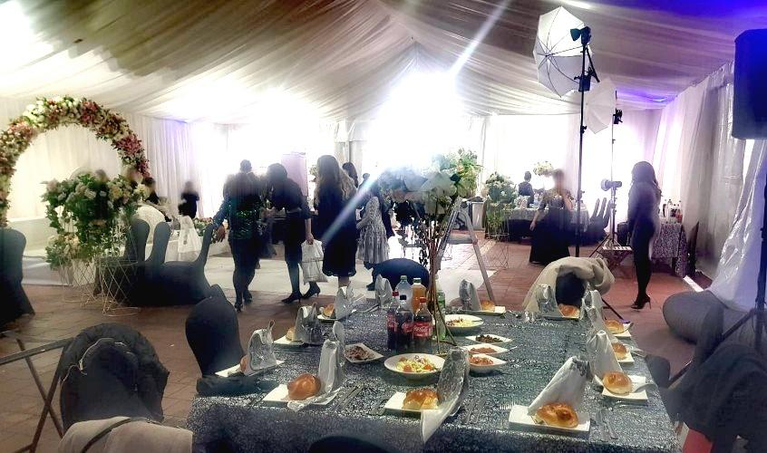 המתחם בו התקיימה החתונה, אמש. צילום: דוברות המשטרה
