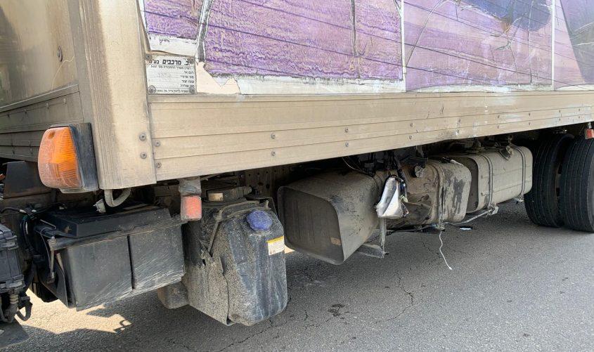 מקום הפגיעה של האופנוע במשאית