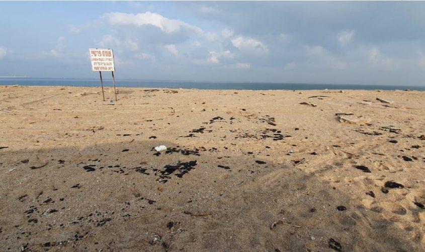 """זפת בחוף של חנ""""י. צילום: דרור אריאלי, המשרד להגנת הסביבה"""