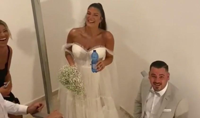 החתן והכלה במרחב המוגן. צילום: עיריית אשדוד