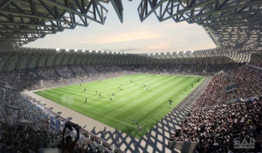 אצטדיון הכדורגל החדש שייבנה באשדוד. הדמיה: GAB Architects, עיריית אשדוד ורשות הספורט העירונית
