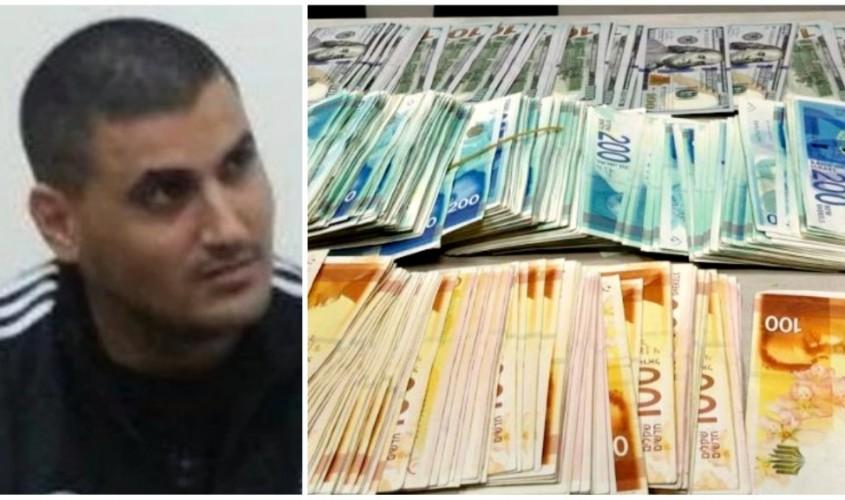 אייל נגר והכסף שנתפס. צילומים: פוסטה, דוברות המשטרה